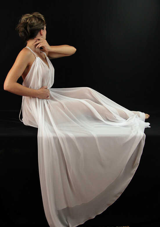 Alis Fashion Design one of a kind Mark Shaw Inspired white organza long see-through dress with spaghetti straps.jpg