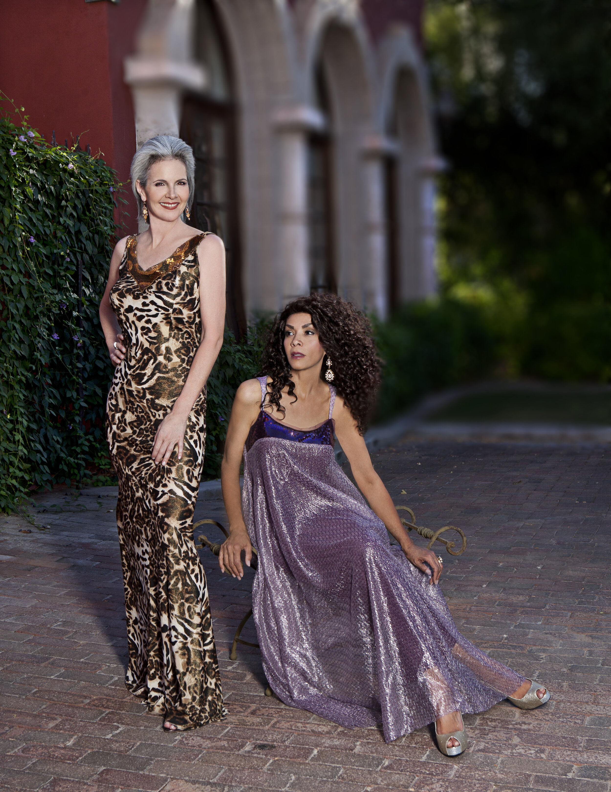 Leopard print maxi dress and see through metallic purple fabric decorated with sequins custom designed by Alis Fashion Design for mother of the bride.jpg