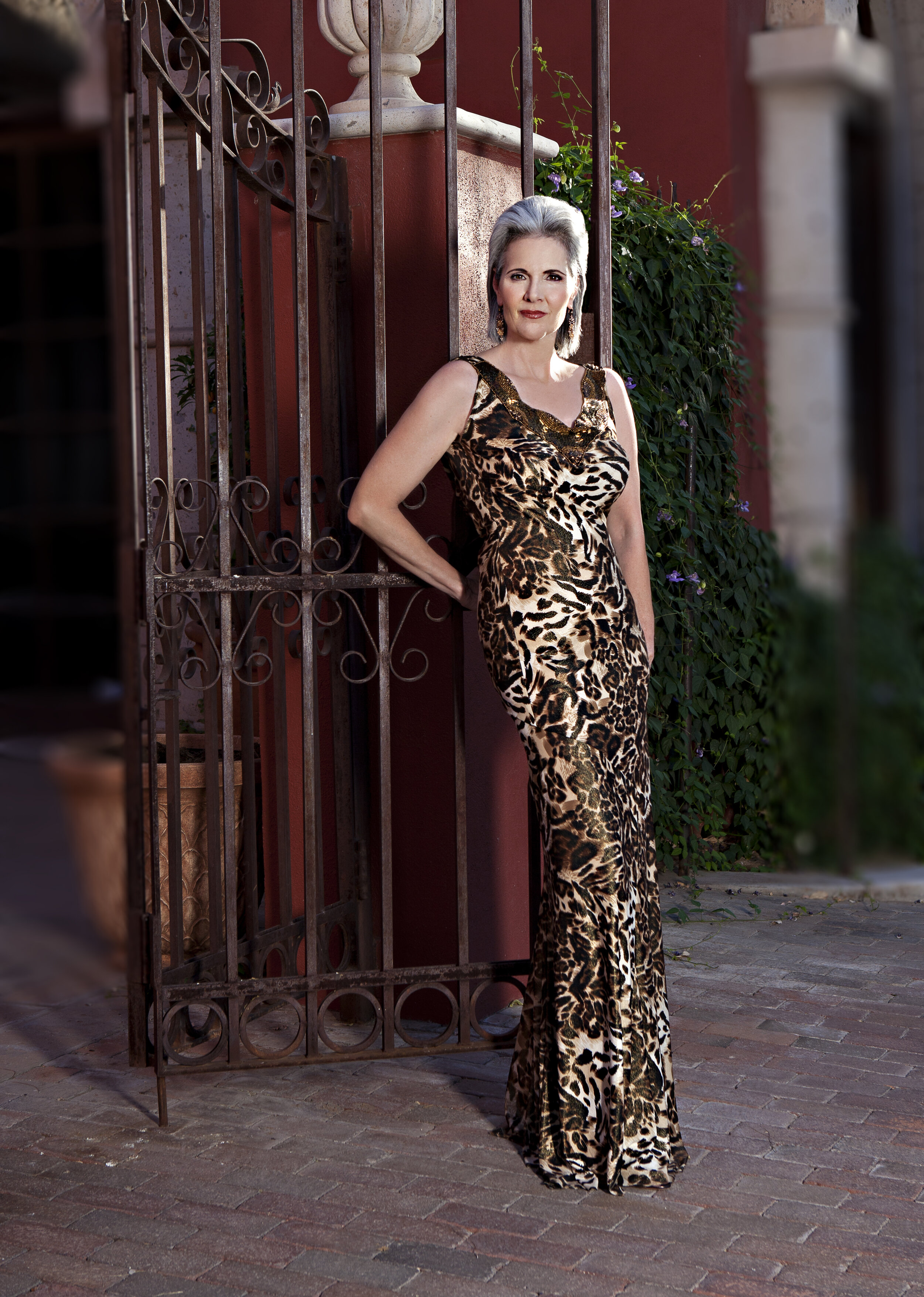 Brown and gold casual maxi dress with square neckline custom made by Alis Fashion Design for mother of the bride.jpg
