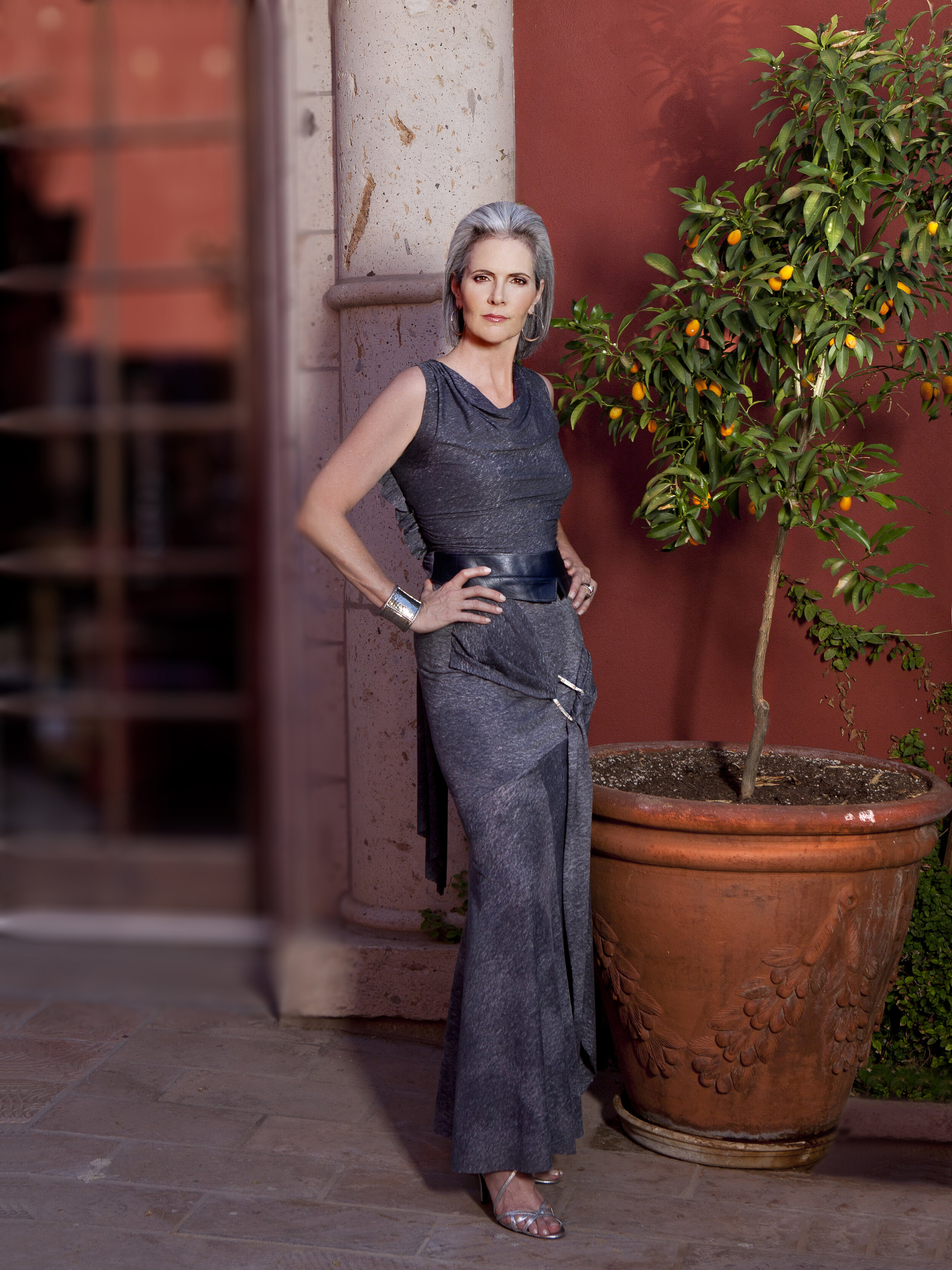 Two piece fit and flare evening wear long skirt and sleeveless top made of grey jersey with draped square neckline custom made by Alis Fashion Design for mother of the groom.jpg