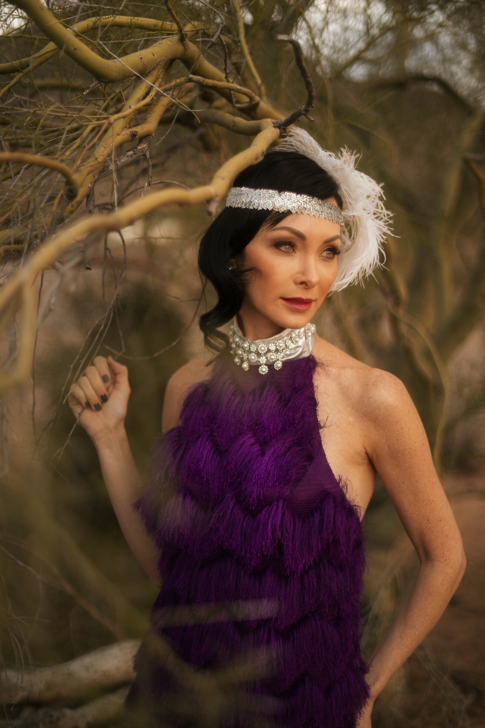 Bespoke purple fringe high collar dress accented with  silver jewelly.jpg