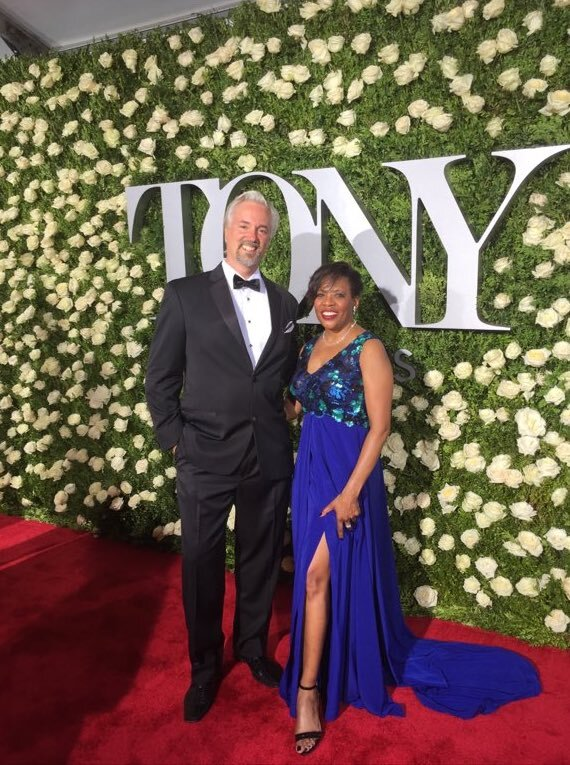 Colleen Jennings-Roggensack from ASU Gammage at Tony Awards 2017 wearing Alis Fashion Design one of a kind couture blue evening gown with sequins.jpg