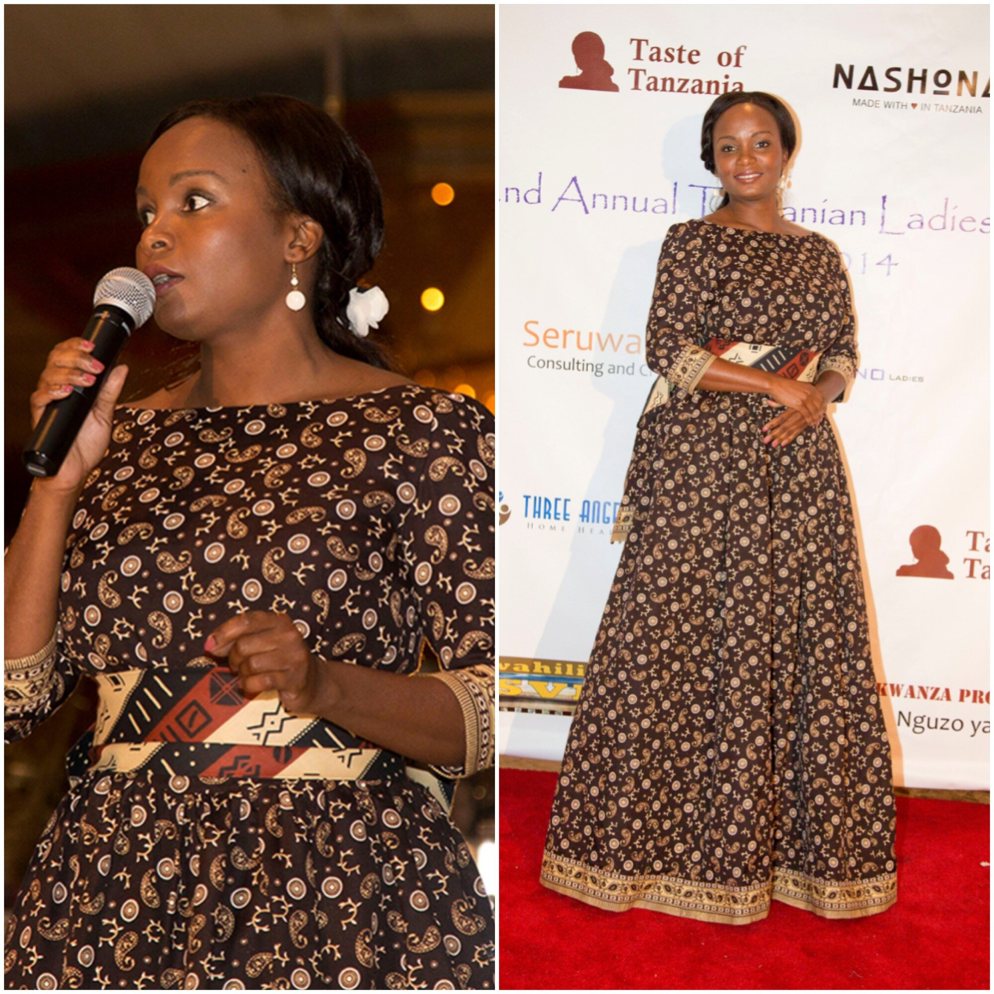 Miriam Kinunda author of Taste of Tanzania wearing one ofa kind African ethnic evening dress designed by Alis Fashion Design at Tanzanian Ladies Night.JPG