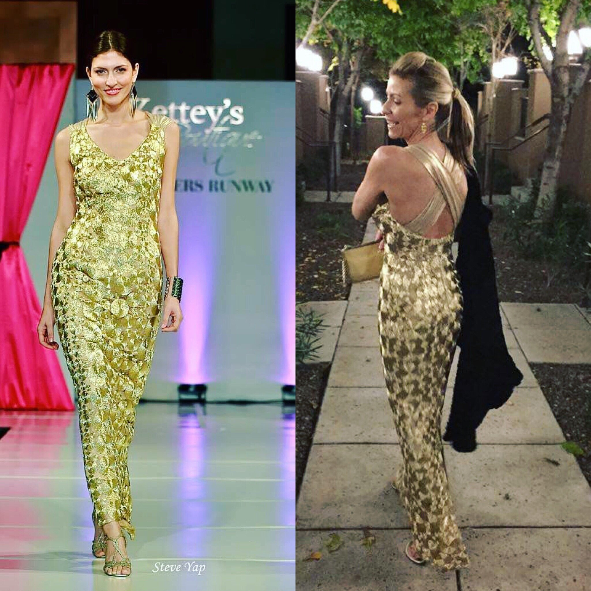 One of a kind gold couture evening maxi dress crisscrossed back featured in runway desinged by Alis Fashion Design for holidays.JPG