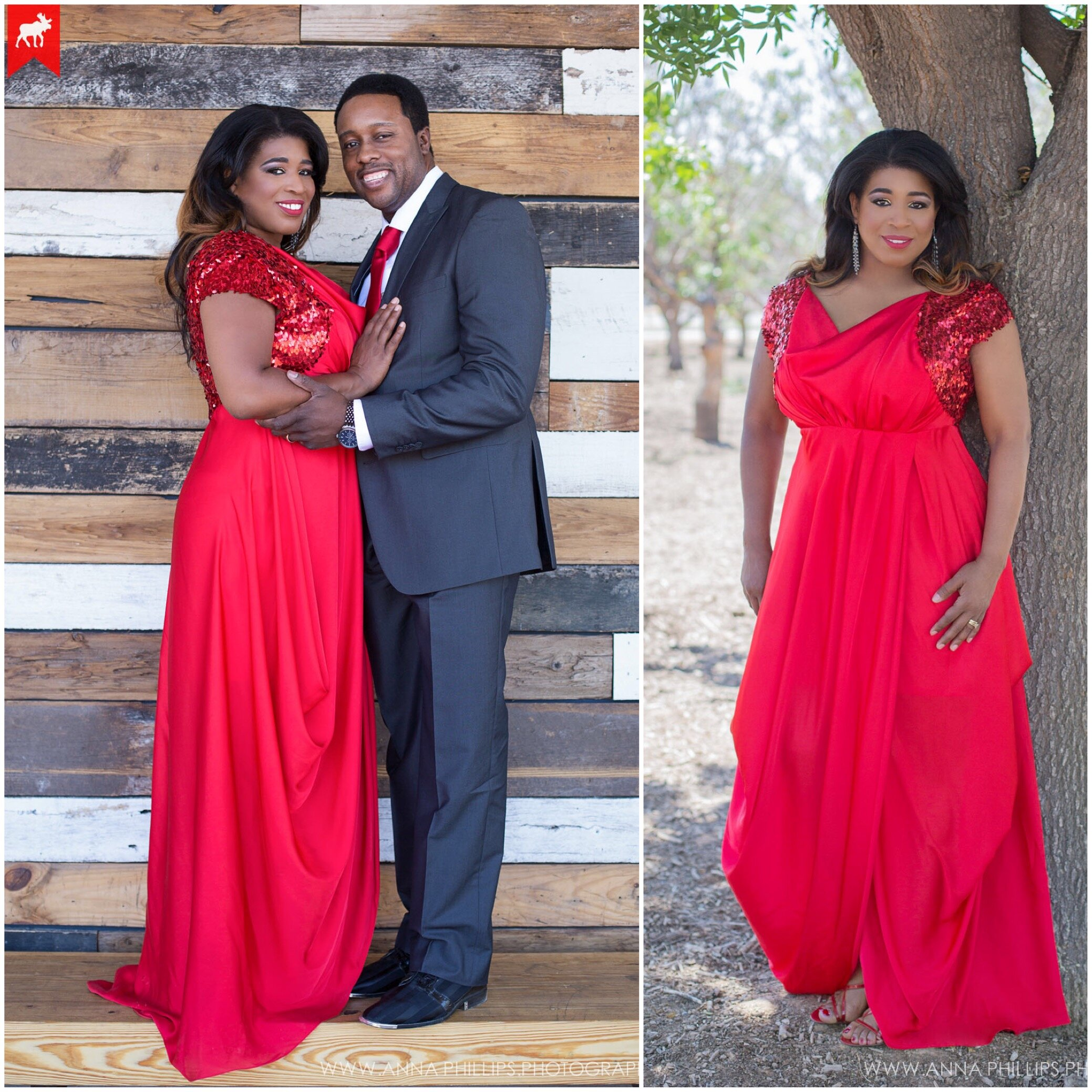 Red satin maxi front draped evening dress with red sequin cap sleeves for Valentines Day husband and wife photo shoot.JPG