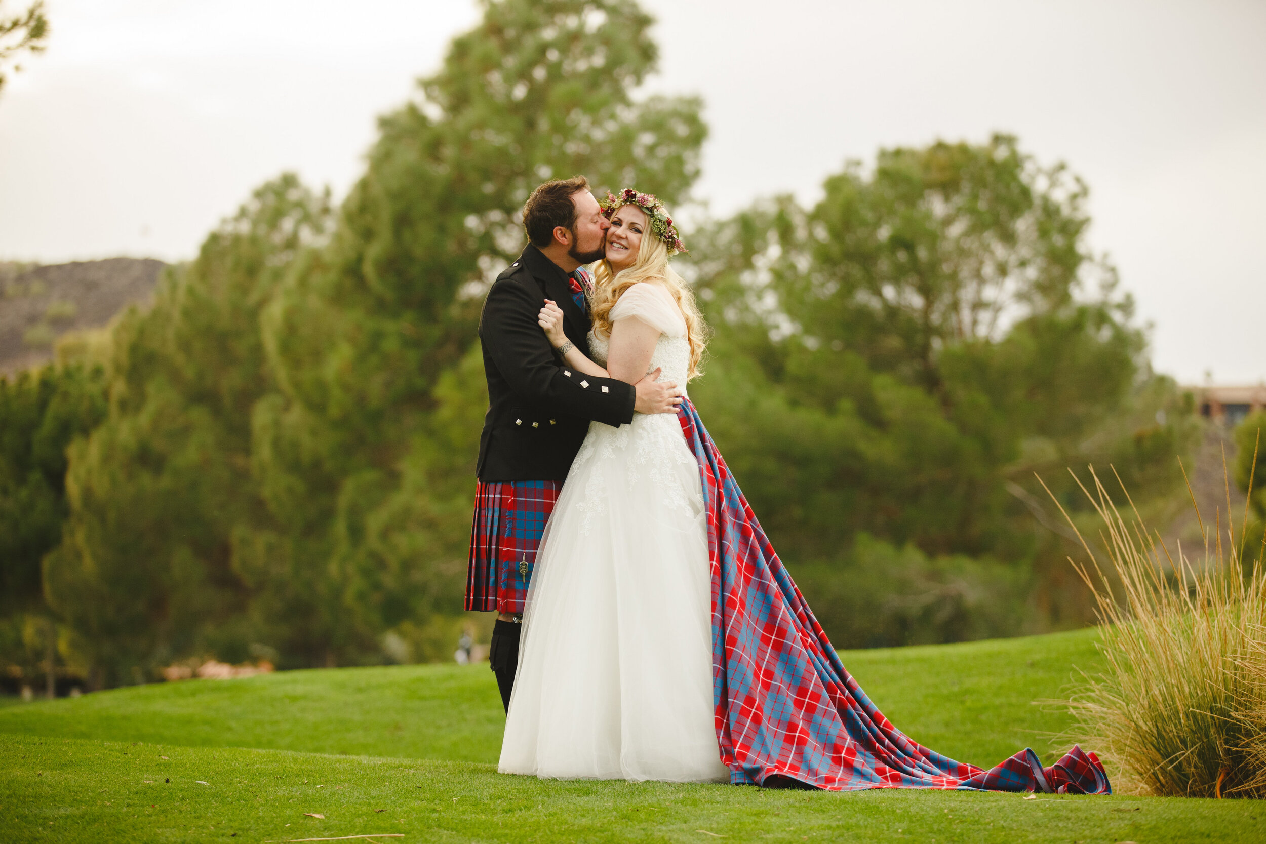 Detachable long panel tartan train custom made by Alis Fashion Design for alternative Scottish wedding.jpg