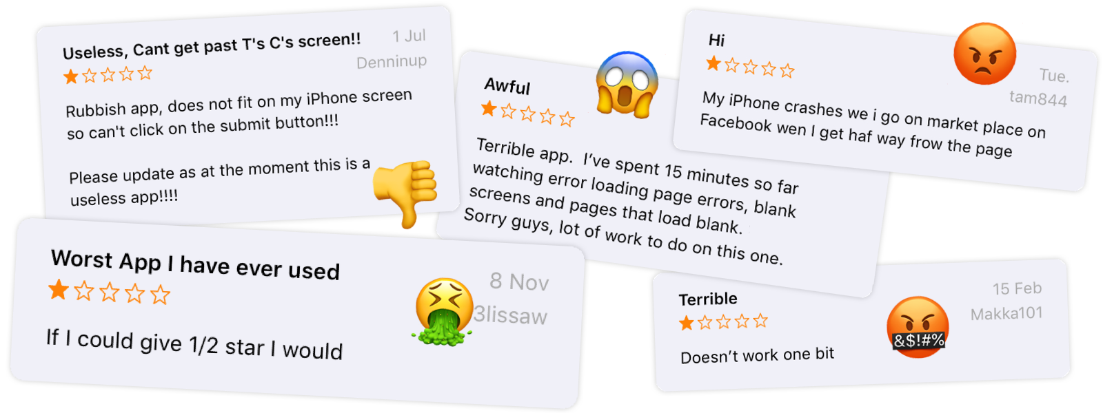Angry Mobile App Reviews