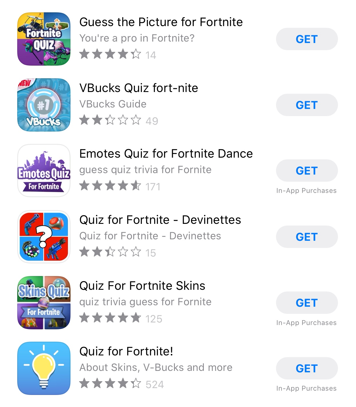 Fortnite Quiz App Store ratings