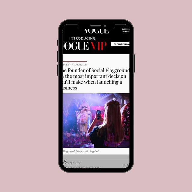 @socialplayground founder, @belle_socialplayground , chats to @vogueaustralia about launching a business 🔥