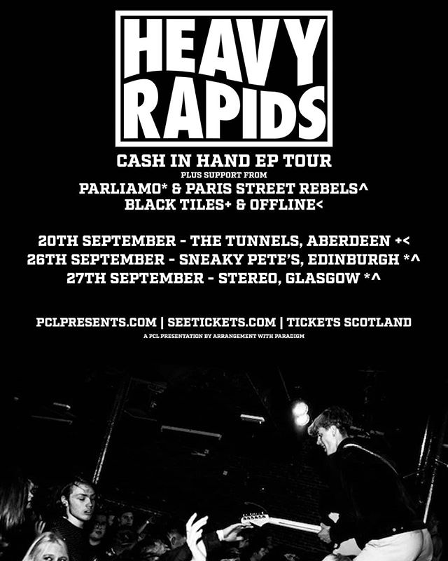 We have some supports for you. We are glad to have @parisstreetrebels, @parliamoband, @blacktilesband and @offlineuk joining us this September 🤠  Tickets:https://www.heavyrapids.com/live