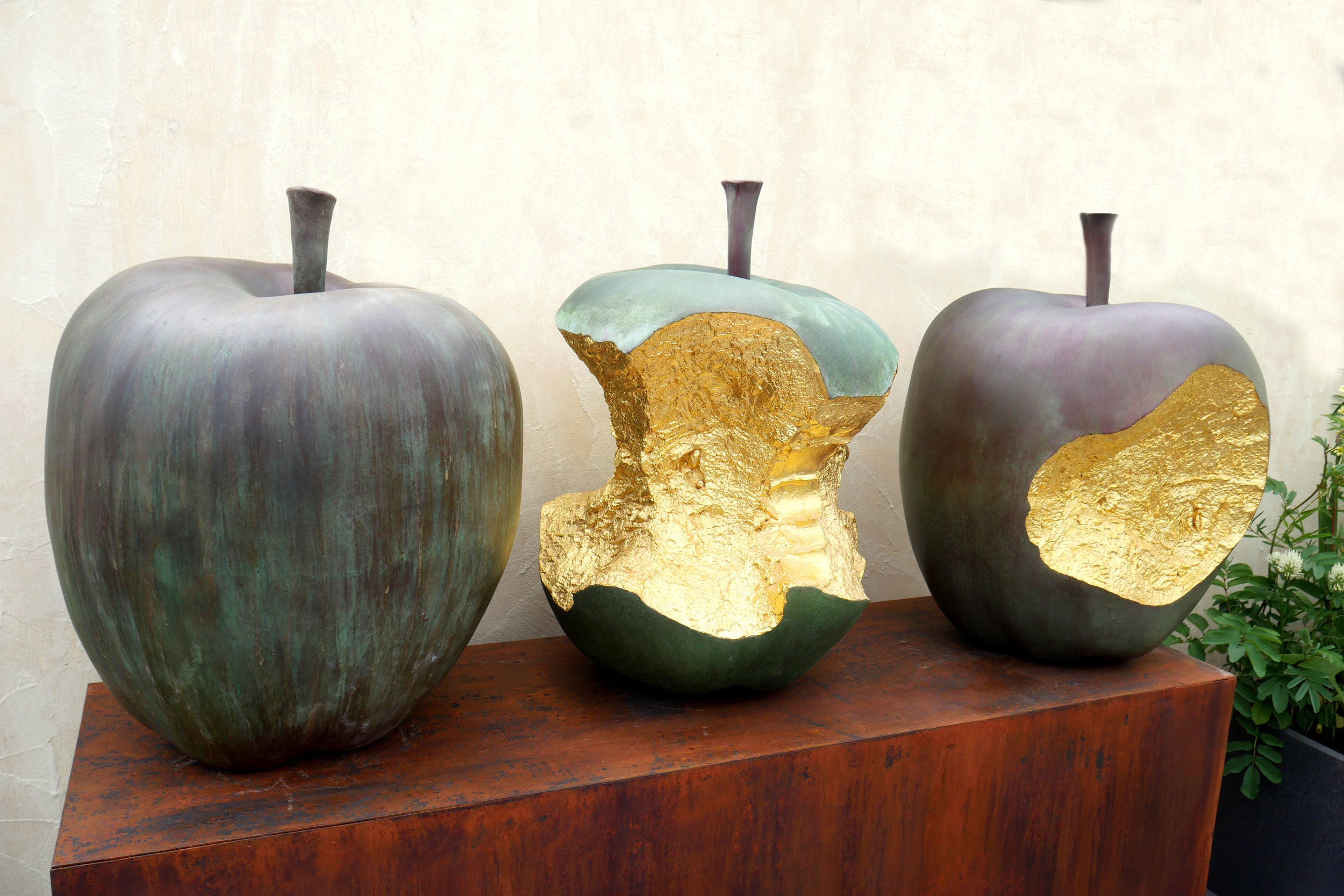 - Cast silicone bronze Apples. Patinated, with 24 carat gold leaf.Height 730mmFull apple £7,000Core £9,000Bite £8,000Set of 3 £22,000(prices including delivery within the UK)