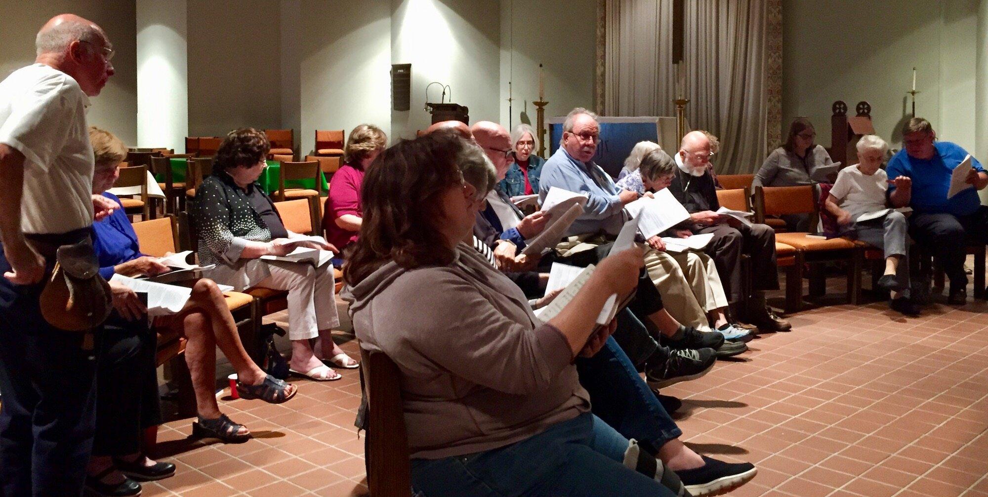 Preparing for the hymn sing