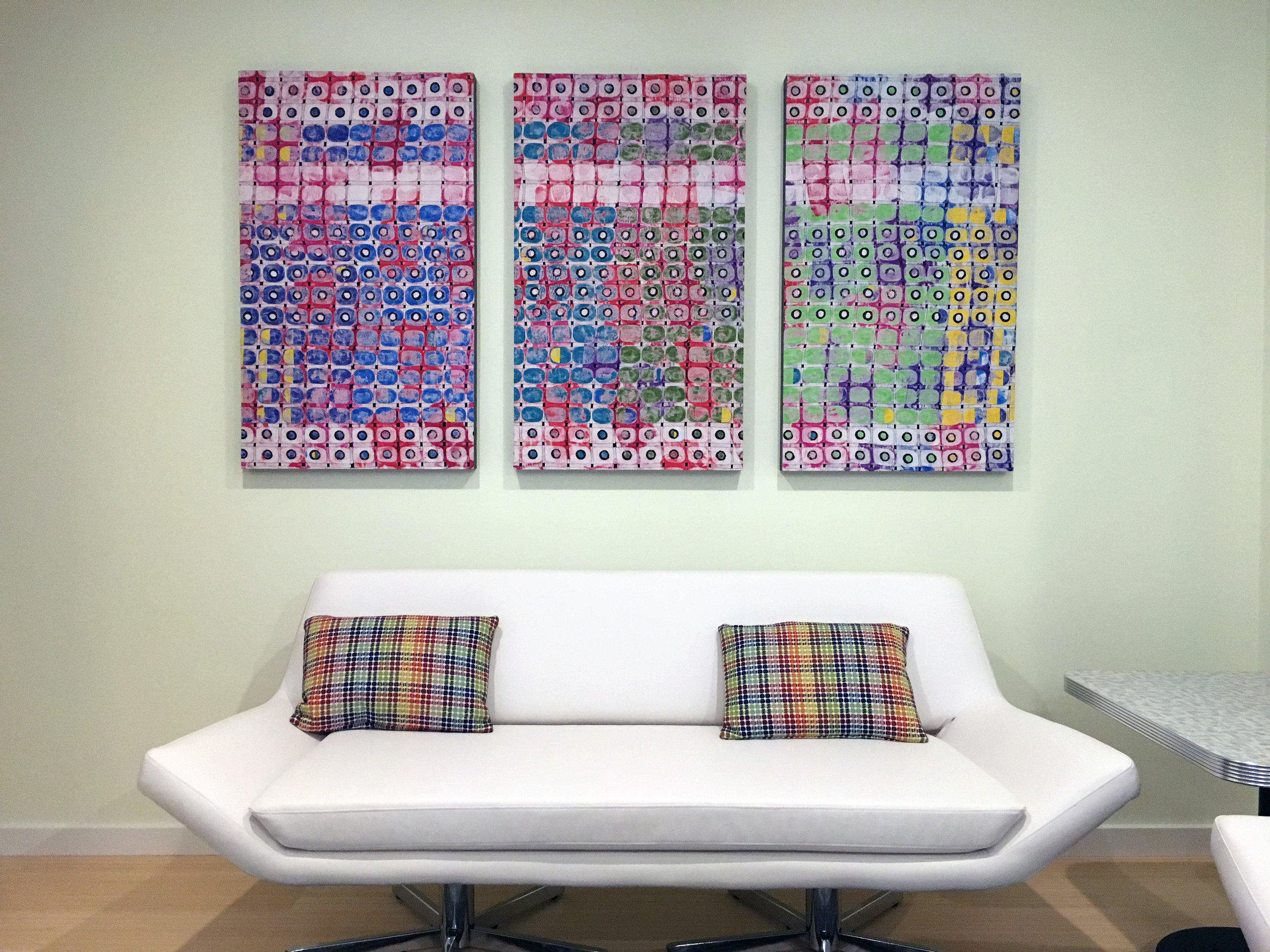 """Fence Trade in Color #1, 2 & 3  - mixed media on 40"""" x 20"""" x 2.5"""" cradled board was commissioned and is hanging in a home in Massachusetts."""