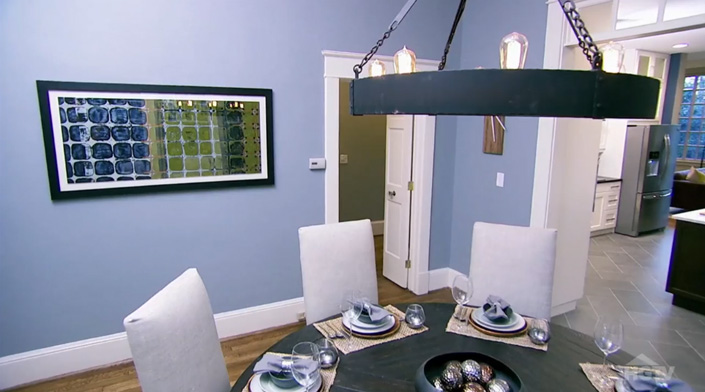 """The print of  Seasonal Fences - Spring #3 , was shown on the  Property Brothers  """"Chris and Mike"""" episode on HGTV (below) in 2014. This picture was at the 38:53 mark in the broadcast."""