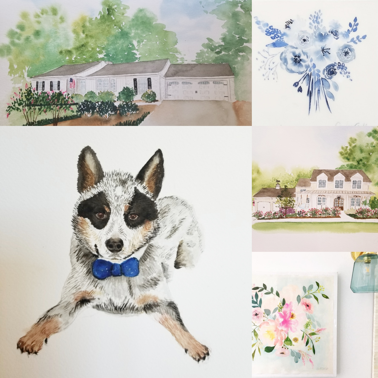 "Watercolors on paper - I offer two basic sizes of watercolor commissions 9x12"" and 11x14"" options which fit in most standard frames. Custom sizes are available as well. Pets, bouquets, homes and wedding venues all make great subject matter.To begin, I will ask that you share a few images of the location, home, etc. It is best to include multiple views/ angles as some work better than others. Point out any specific special features you would like to include. Once plans are finalized, we will discuss the completion time. All watercolor pieces are paid for up front and include free shipping."