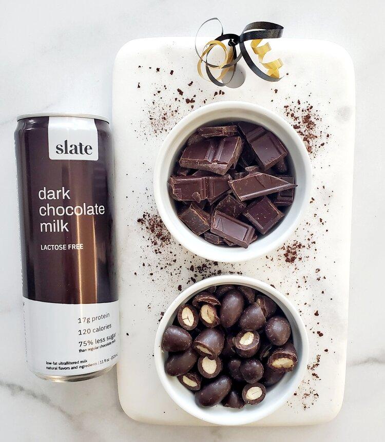 Amazing  Slate Chocolate Milk , Dark Chocolate and Chocolate Covered Almonds