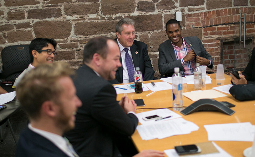 Members of the New York City Council's LGBT Caucus, including Carlos Menchaca, Corey Johnson, Daniel Dromm and Ritchie Torres, meet in 2014.. (William Alatriste / New York City Council)