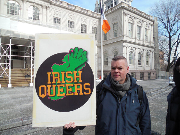 """Jeff Mulligan of Irish Queers blasted the """"closed-door deal"""" to allow a group of L.G.B.T. NBC employees to join the parade on March 17. Photos by Gerard Flynn"""