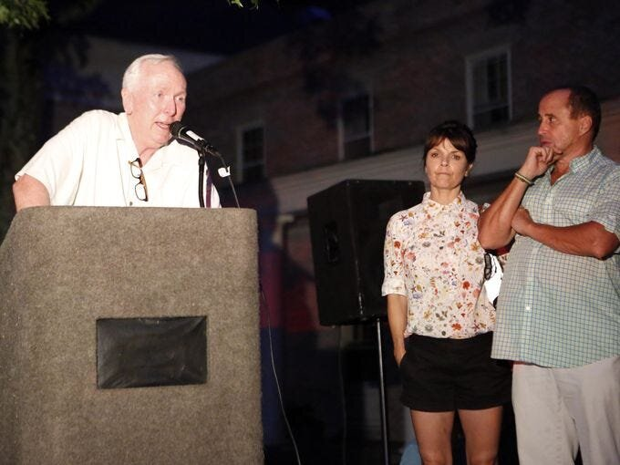 """Bob Dennison, a former chairman of the board of Parole, speaks at the """"Candles for Clemency"""" vigil near Gov. Andrew Cuomo's residence, Sept. 6, 2014 in New Castle. Over 100 New Yorkers gathered for the vigil to urge the governor to grant clemency to even one of the 55,000 men and women imprisoned in New York State. Tania Savayan/The Journal News"""