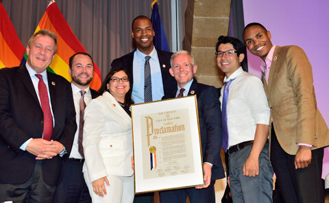 Jason Collins of the Brooklyn Nets with the Council's lesbian and gay caucus: Members Daniel Dromm, Corey Johnson, Rosie Mendez, Jimmy Van Bramer, Carlos Menchaca, and Ritchie Torres. | DONNA ACETO