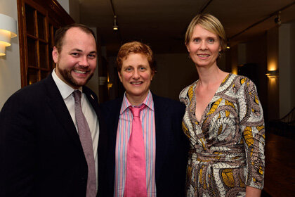 Councilman Corey Johnson with Christine Marinoni and her wife Cynthia Nixon. | DONNA ACETO