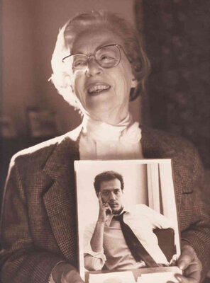 Jeanne Manford holds a photo of her son Morty, shortly after his 1992 death from AIDS.
