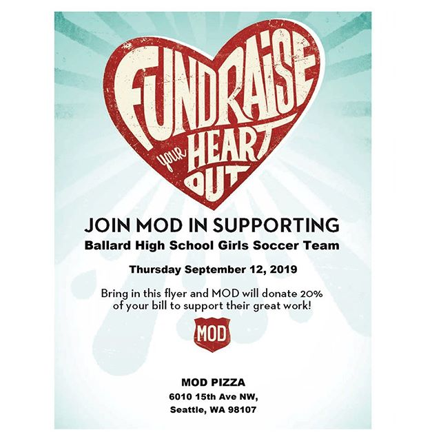 Wondering what you're going to eat on Thursday?  Grab lunch or dinner at @modpizza on 15th on 9/12/19 and they'll donate 20% of your bill to BHS Girls Soccer!  Downloadable flyer at www.ballardathletics.com/new-events. See you there!