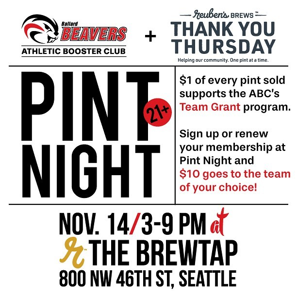 Hey grown-up Beaver Fans!  Grab some friends and come raise a glass with us at The Brewtap this Thursday 11/14 3-9pm!  Reuben's Brews will be donating $1 to the BHS ABC for every pint sold — what a delicious way to fill up our Team Grant fund!  See you there! #bhsabc #ag2bb #reubensbrews #ballardbrewed