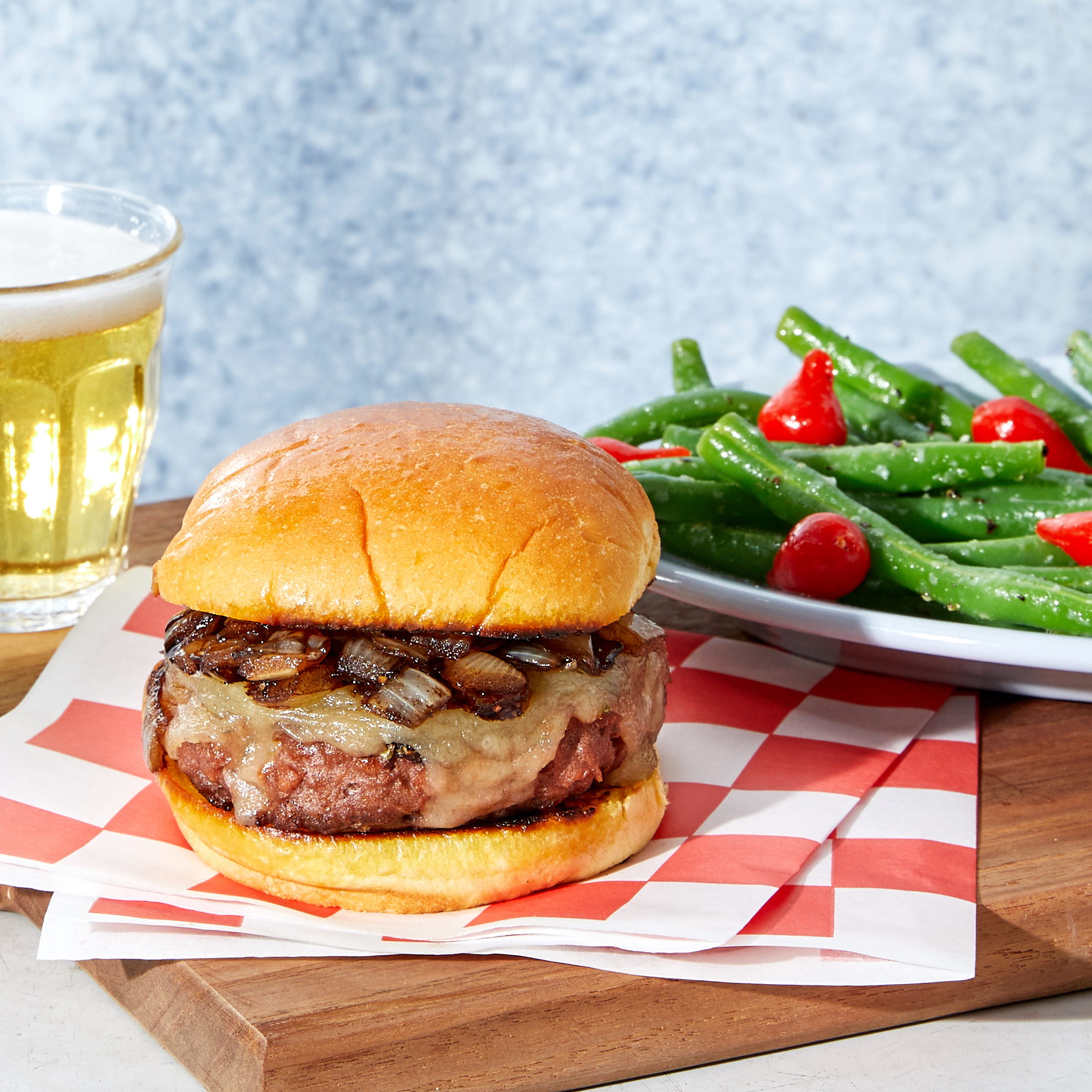 Caramelized Onion & Cheddar Beyond Burgers™ - with Garlic Green Beans