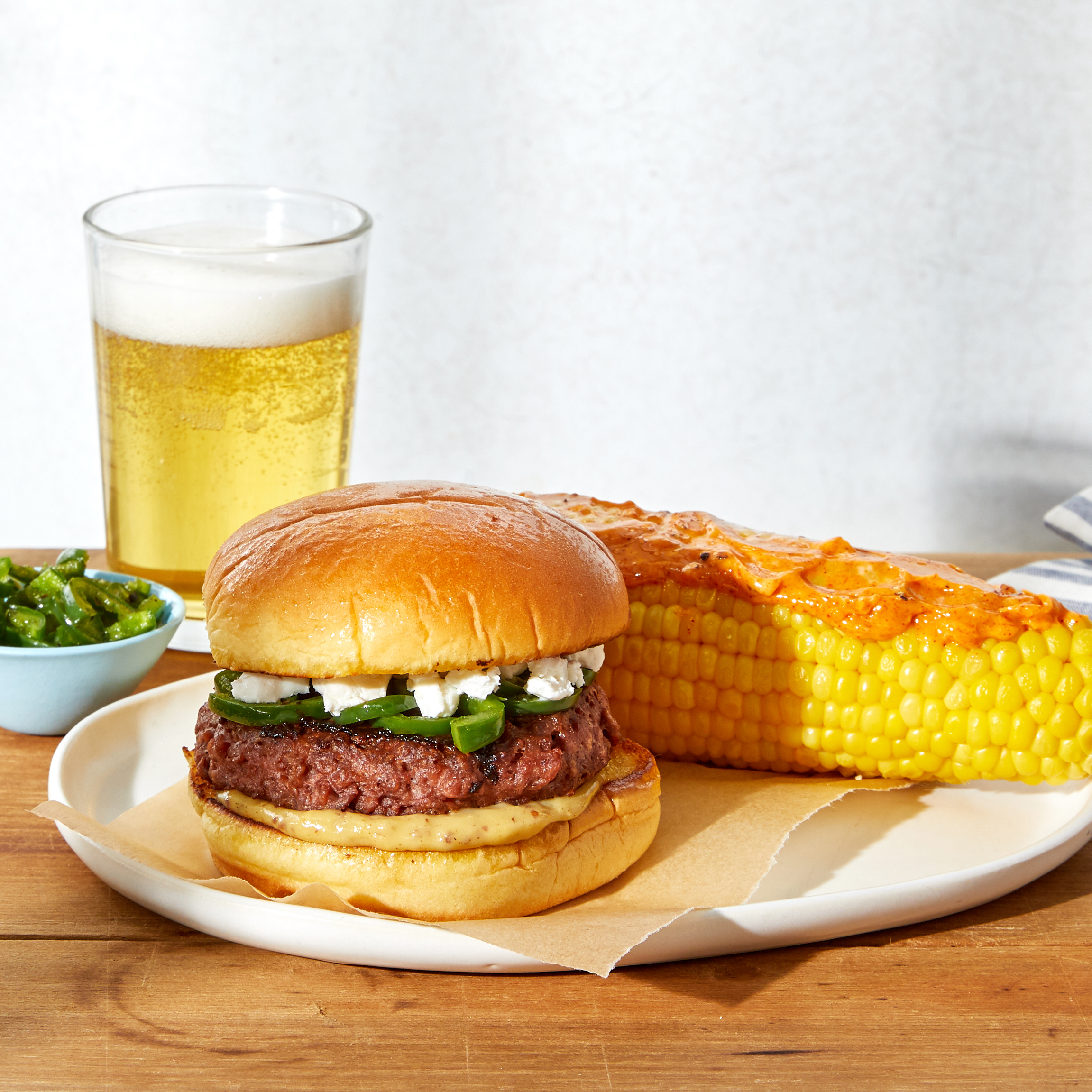 Jalapeño & Goat Cheese Beyond Burgers™ - with Corn on the Cob