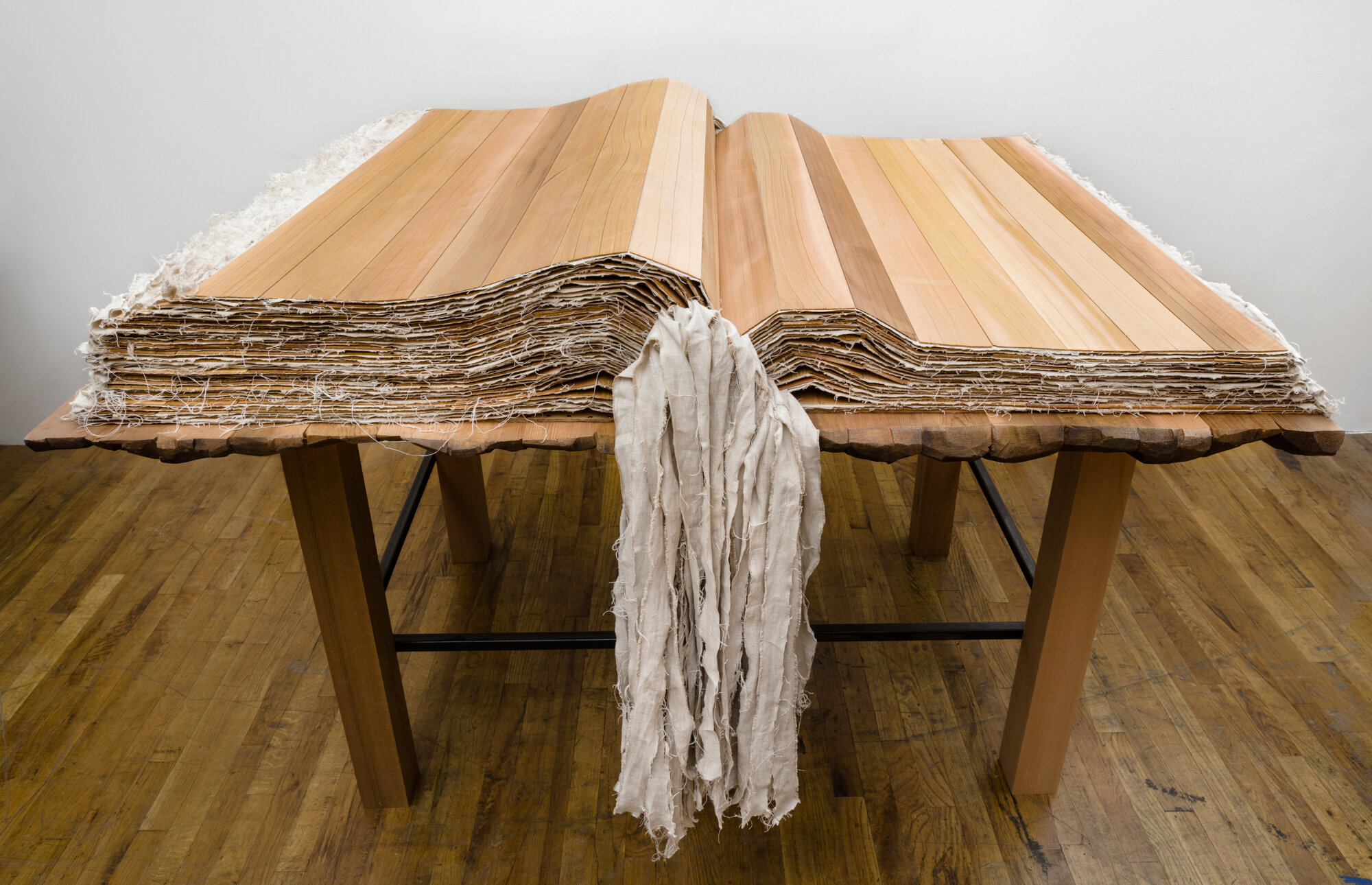 Book with no words II , 2017-18 Cedar, linen, and leather 10.5 x 63 x 47 in. MORE IMAGES