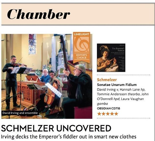 Thank you so much to @limelightmagazine for a comprehensive 5* review of The Emperor's Fiddler!⠀ Find the whole thing in the December issue⠀ .⠀ .⠀ #classicalmusic #baroque #baroqueviolin #violin #earlymusic #limelightmagazine #CDreview