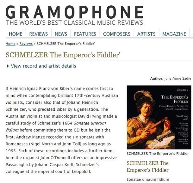 """""""To best reflect the regal setting for the earliest performances of these works, Irving has gathered together a rich continuo ensemble of four musicians and the resulting array of ever-changing accompaniments is evidence of their close collaboration... The clarity and warmth of the recorded sound is a pleasure to experience.""""⠀ .⠀ Thank you to Gramophone Magazine for this fantastic review of The Emperor's Fiddler!⠀ .⠀ https://www.gramophone.co.uk/review/schmelzer-the-emperors-fiddler⠀ #earlymusic #baroque #baroquemusic #baroqueviolin #schmelzer #gramophonemagazine #continuo #CDreview #classicalmusic"""