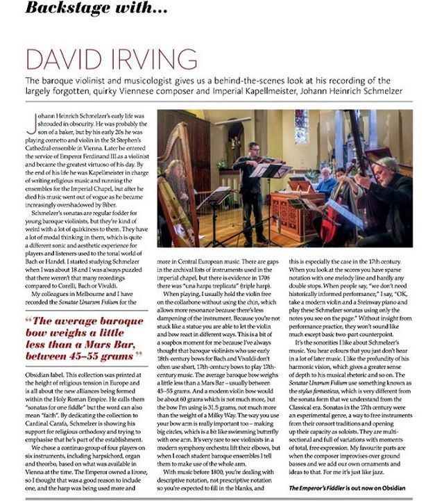Fantastic feature in @limelightmagazine - backstage with David Irving, talking about the process of making The Emperor's Fiddler: Johann Heinrich Schmelzer . . #limelight #earlymusic #baroque #baroqueviolin #violin #virtuoso #backstage #interview
