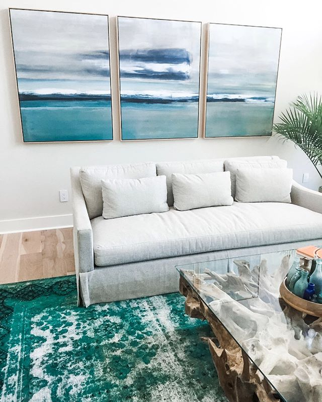 Just a few more pieces to complete this Living Room! I'm loving this triptych and teak-root coffee table. Oh, and this sofa is extra deep and comfortable, covered in performance fabric...perfect for this family with teens and dogs.