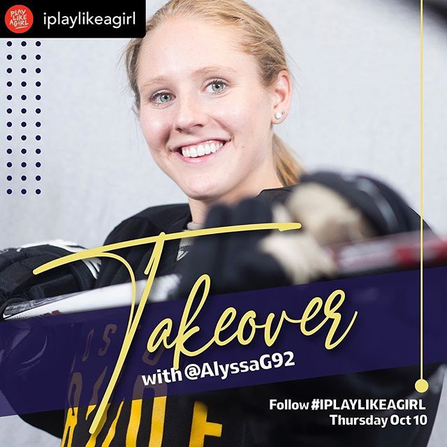 Posted @withrepost • @iplaylikeagirl Be sure to catch pro hockey player Alyssa Gagliardi @alyssag92 on our Instagram Story this Thurs, Oct 10 to kickoff our #DayoftheGirl celebration! She has BIG news to share about how we're working together to grow the game. Follow #IPLAYLIKEAGIRL for a little #inspiration.