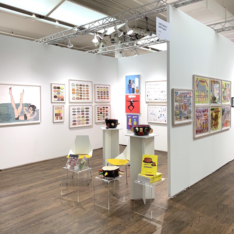 LAND Gallery/NAP Projects booth. Pictured: Byron Smith, Kenya Hanley, Michael Pellew, Nicole Appel, Raquel Albarran