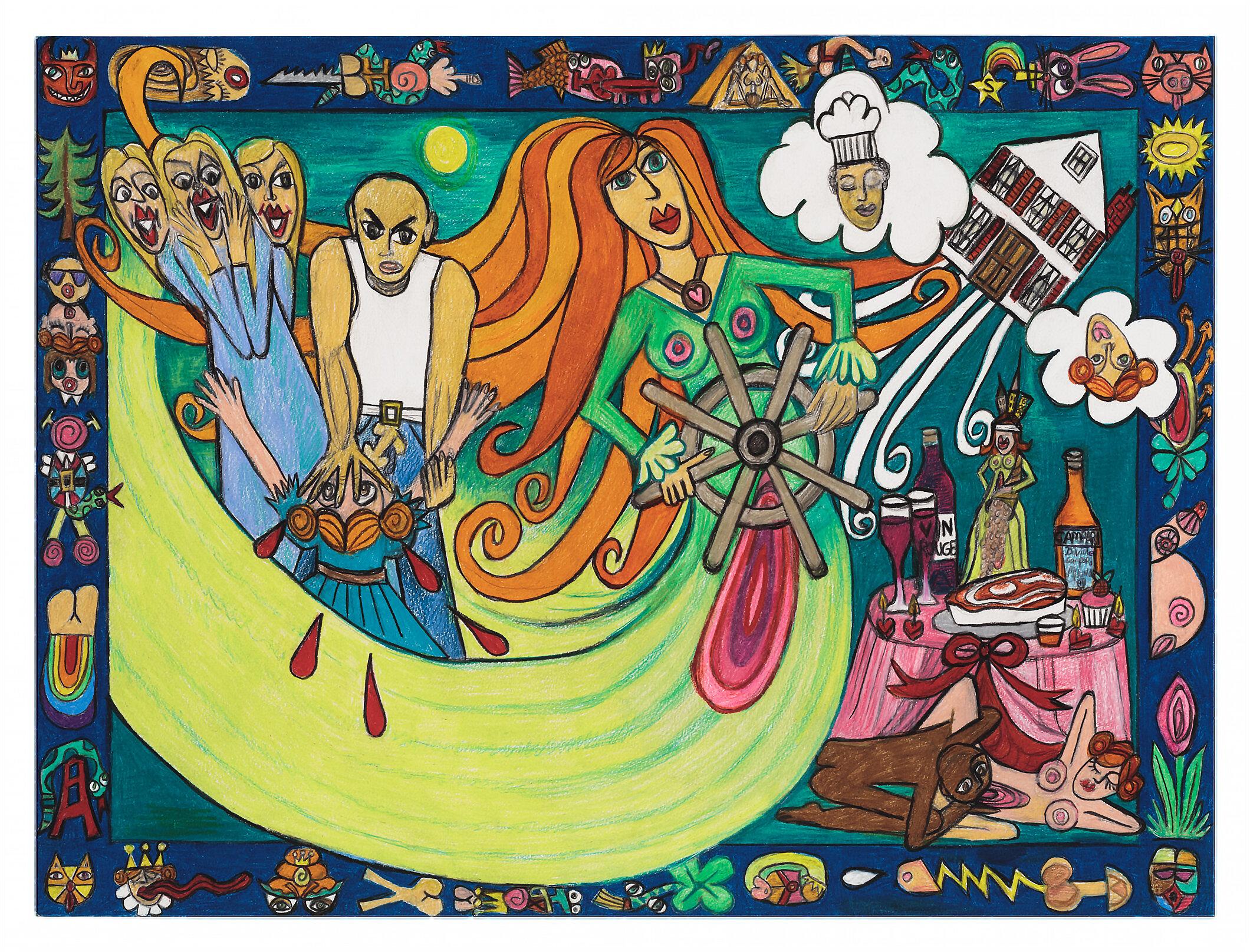 "Fortuna's Wheel (2019) Watercolor pencil on paper, 18x24"""