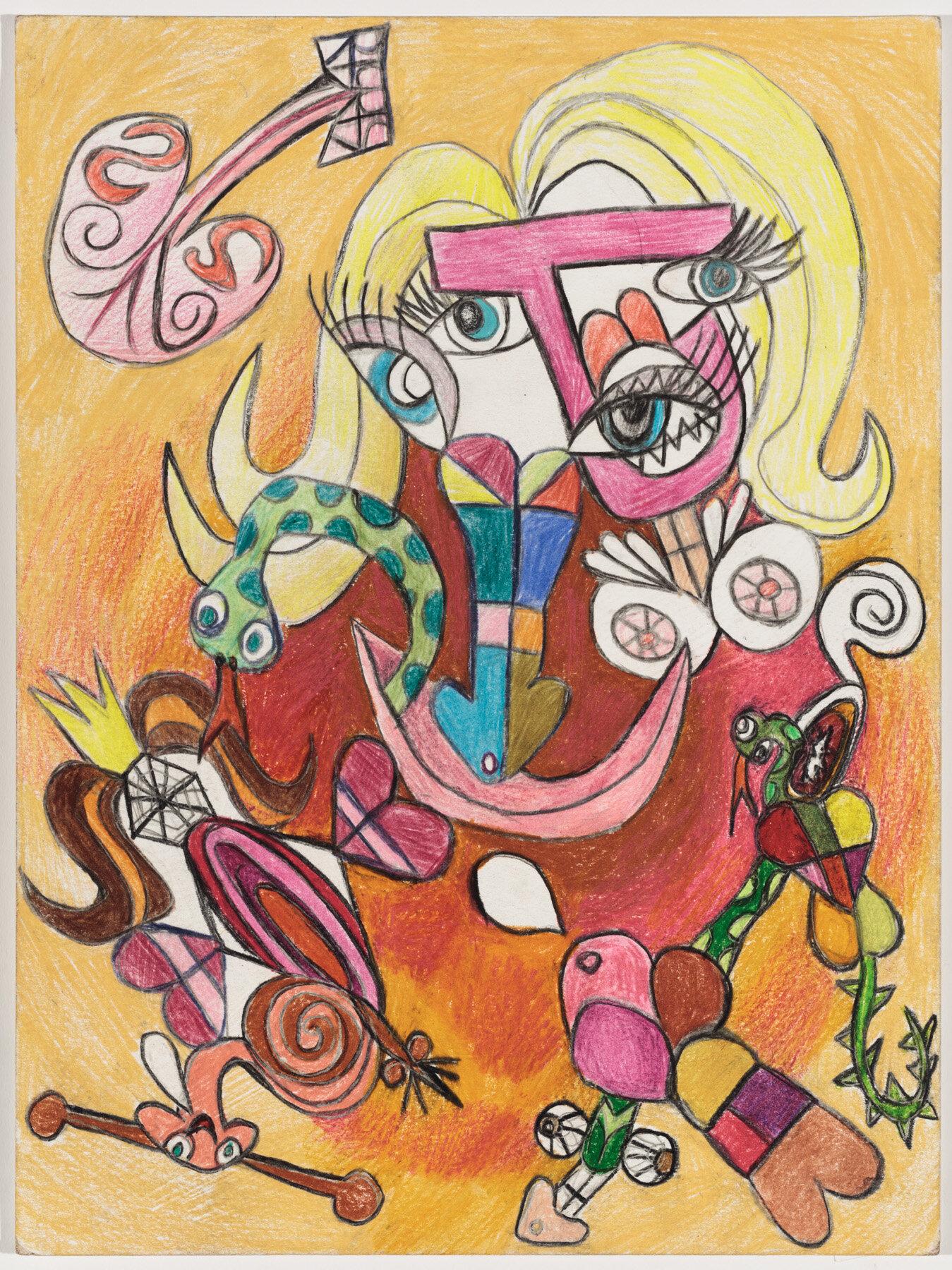 """Academie Gnostique (2019) Watercolor pencil on paper, 12x9"""""""