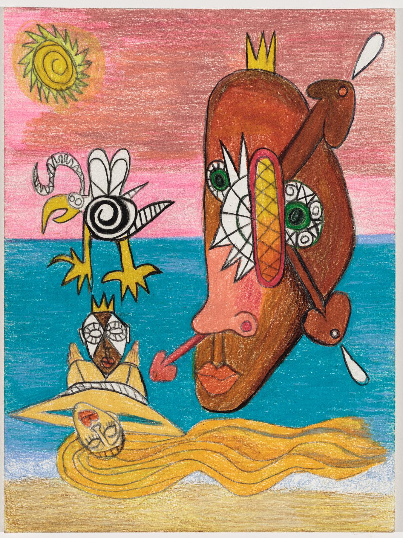 """Defiant Joy (2019) Watercolor pencil on paper, 12x9"""""""