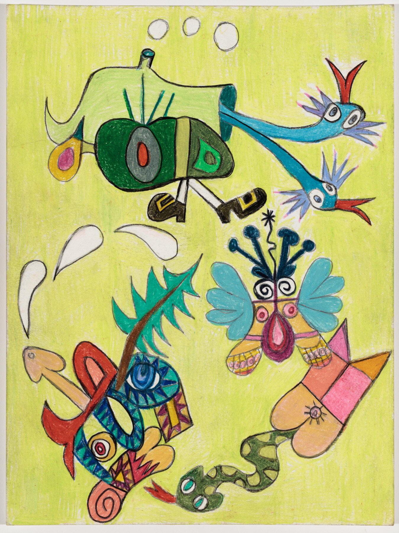 "Dr. Seuss My Ass (2019) Watercolor pencil on paper, 12x9"""