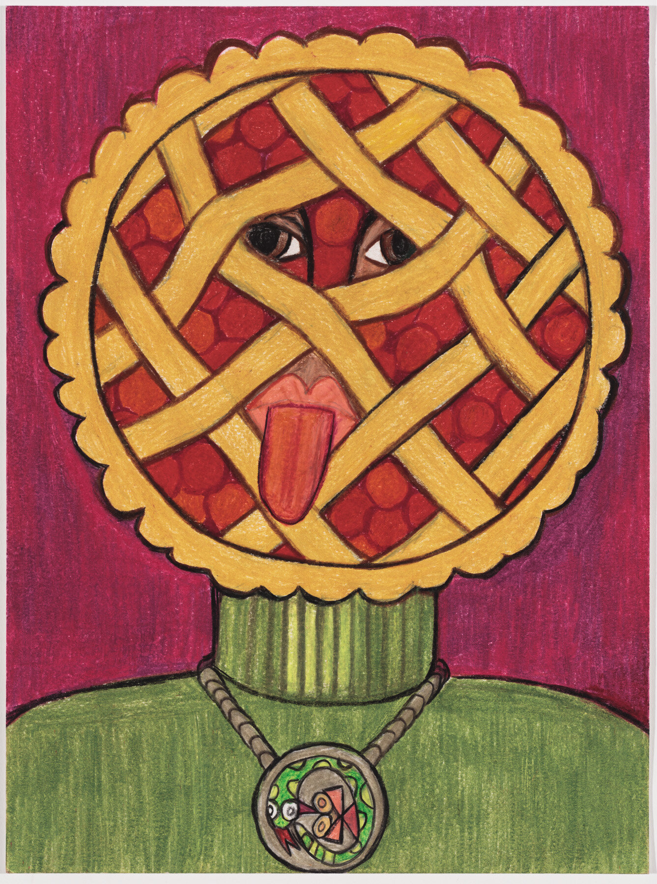 "Pie Guy (2019) Watercolor pencil on paper, 12x9"""
