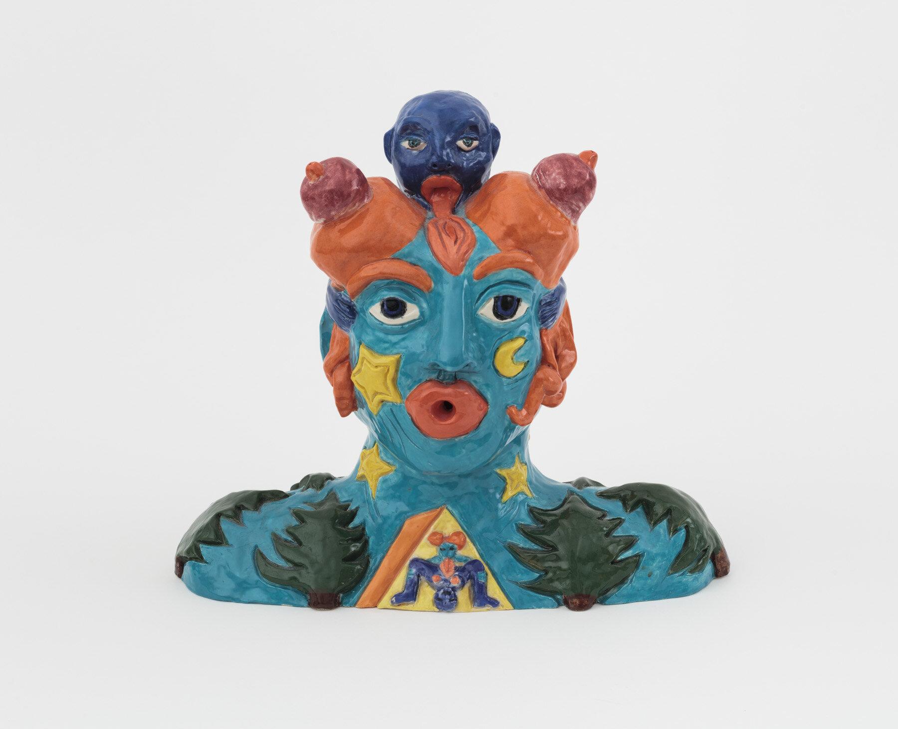 "Camping in My Head (2018) Handbuilt glazed ceramic, 13h x 11w 9d"""