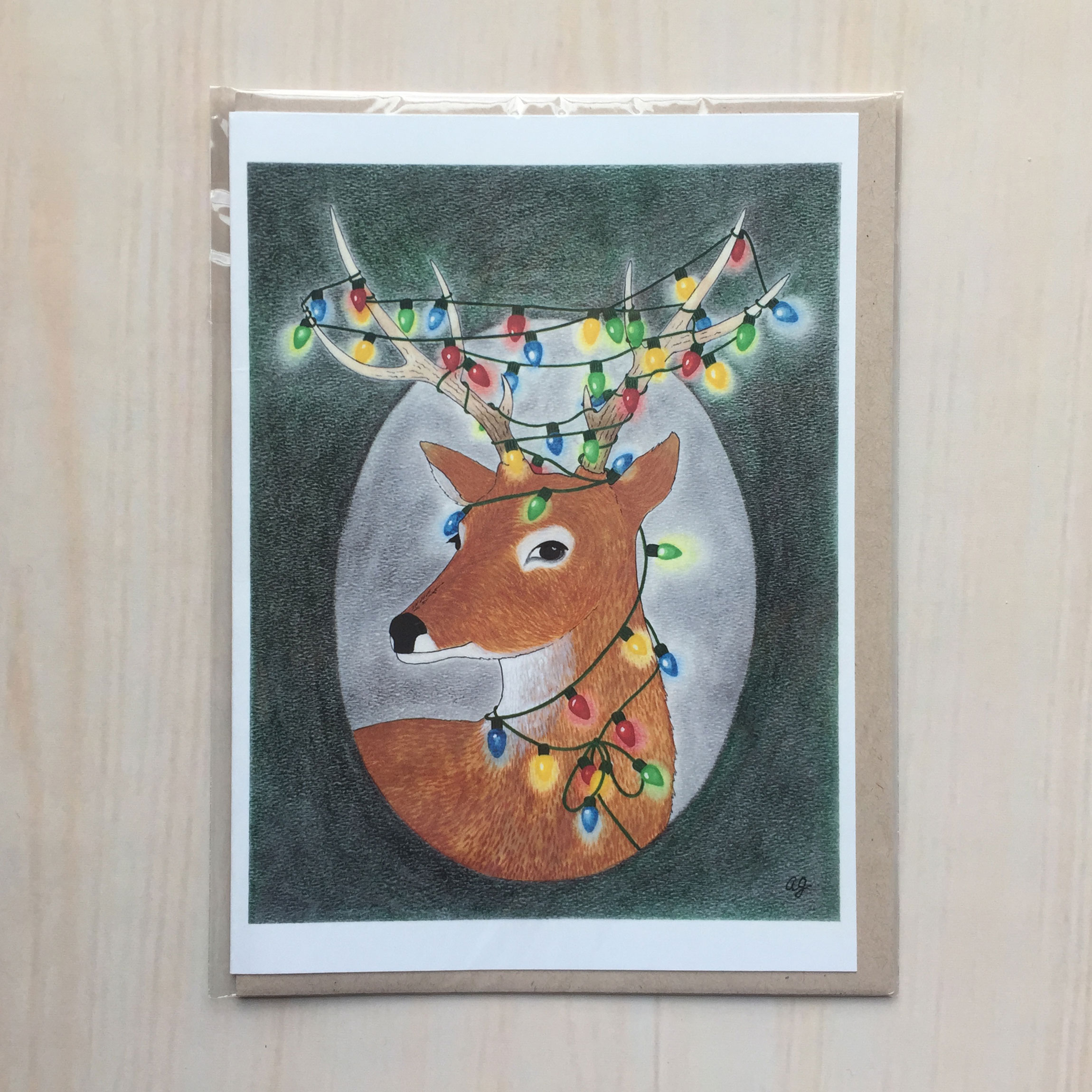 "Festive Deer   Size: 5""x7"" Printing: digital Inside: blank Envelope: rustic brown"