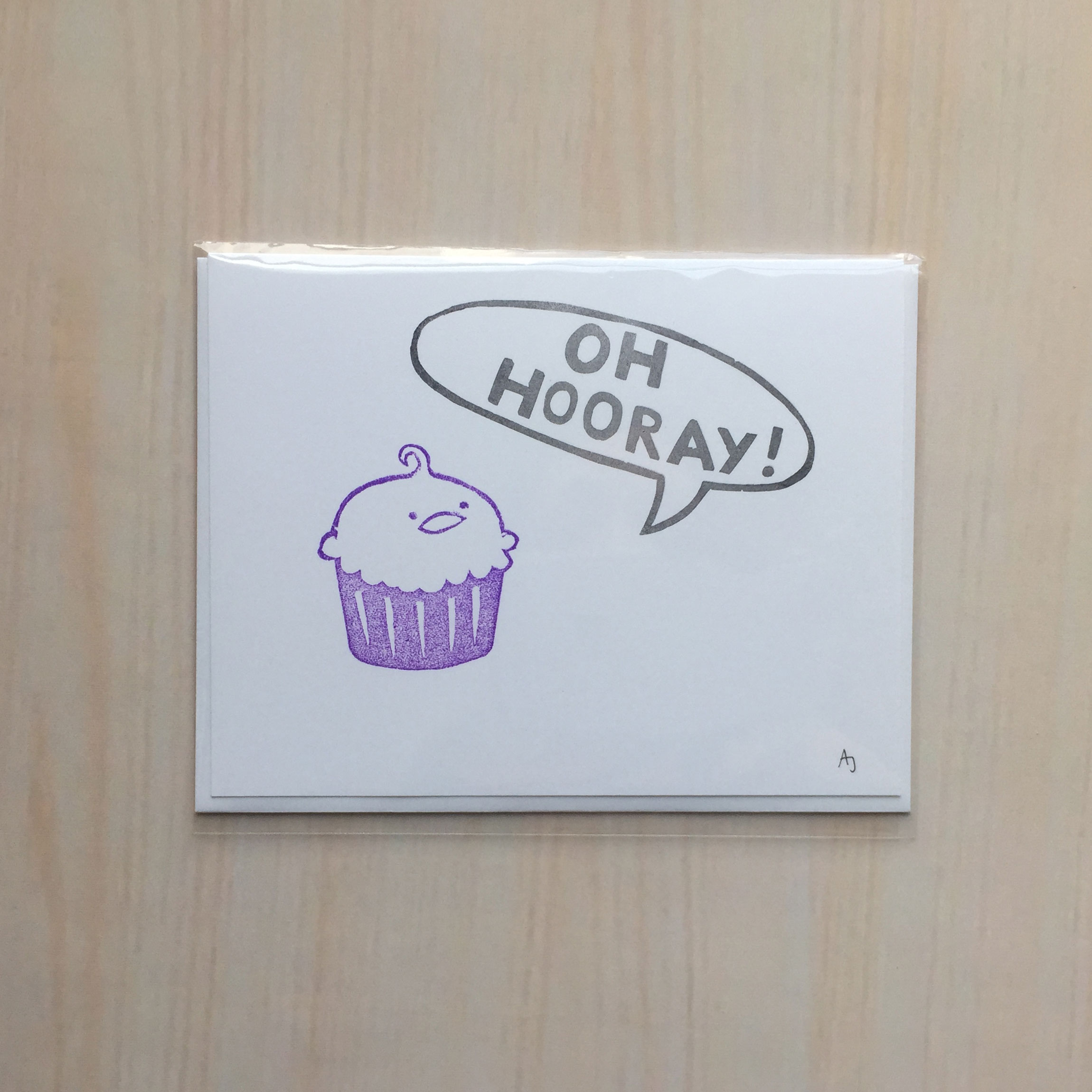 "Oh Hooray, Cake!   Size: 4""x5"" Printing: block print Inside: ""…exclaimed the talking cake"" Envelope: white"