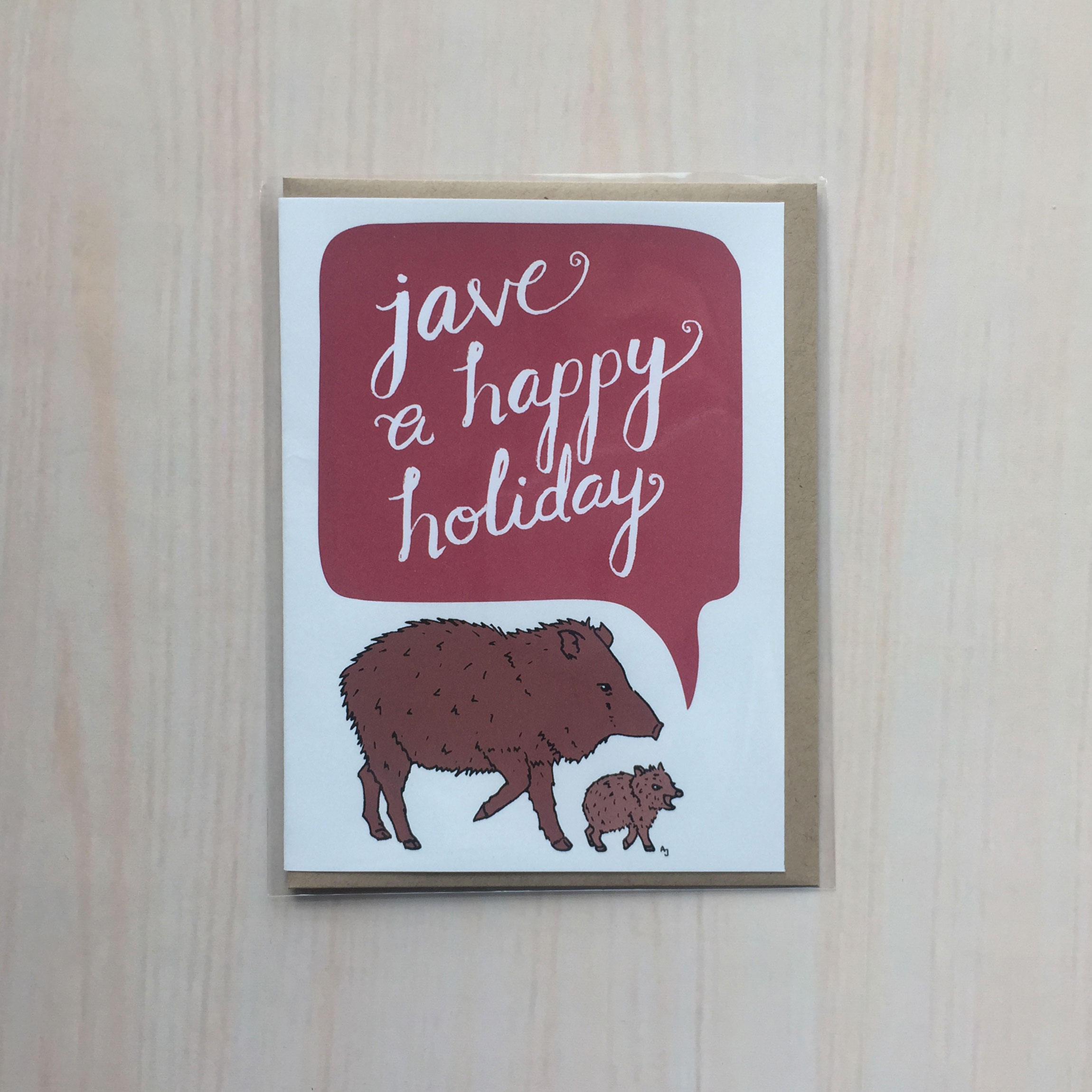 "Javelina Holiday   Size: 4""x5"" Printing: digital Inside: blank Envelope: kraft"