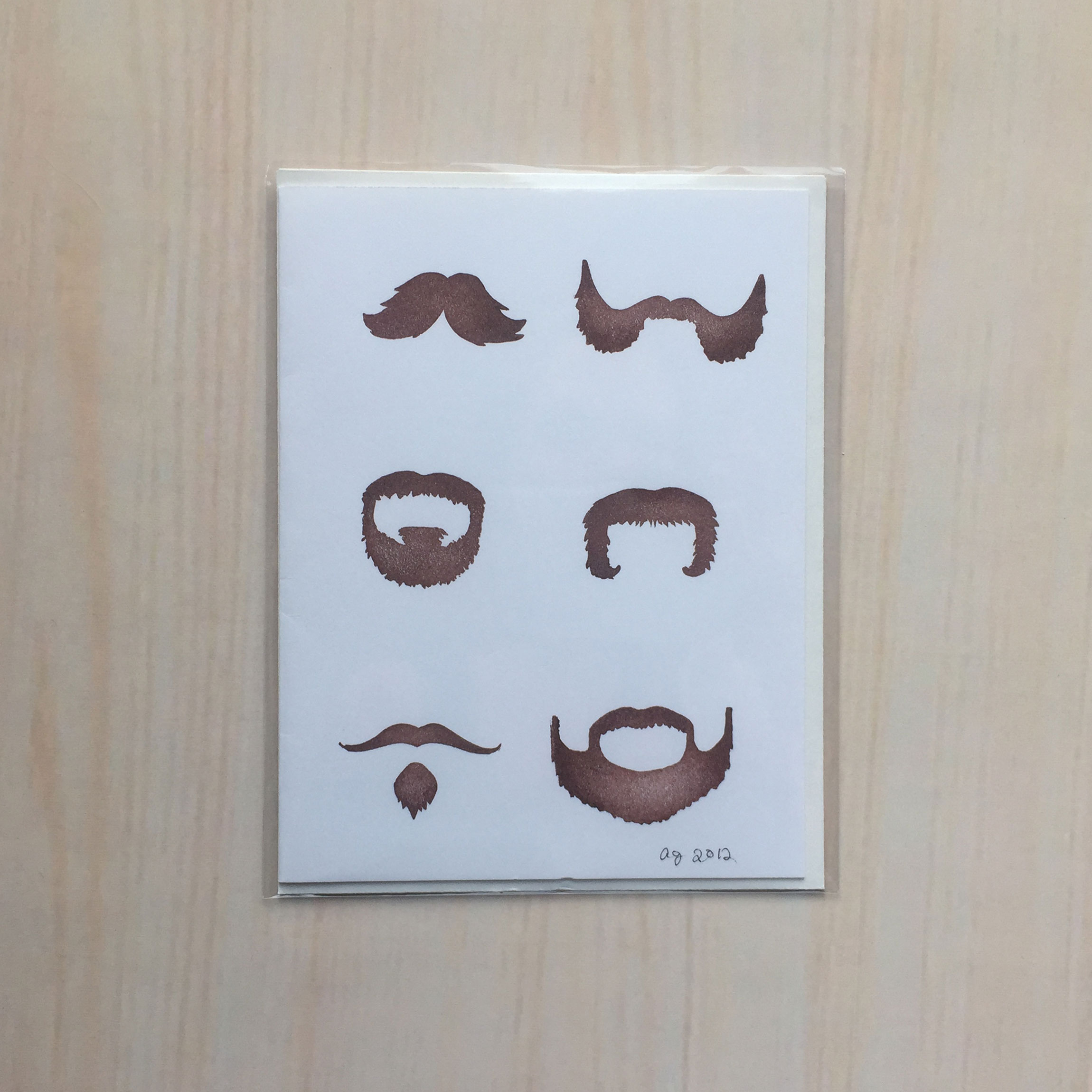 "Les Moustaches   Size: 4""x5"" Printing: block print Inside: blank Envelope: white"
