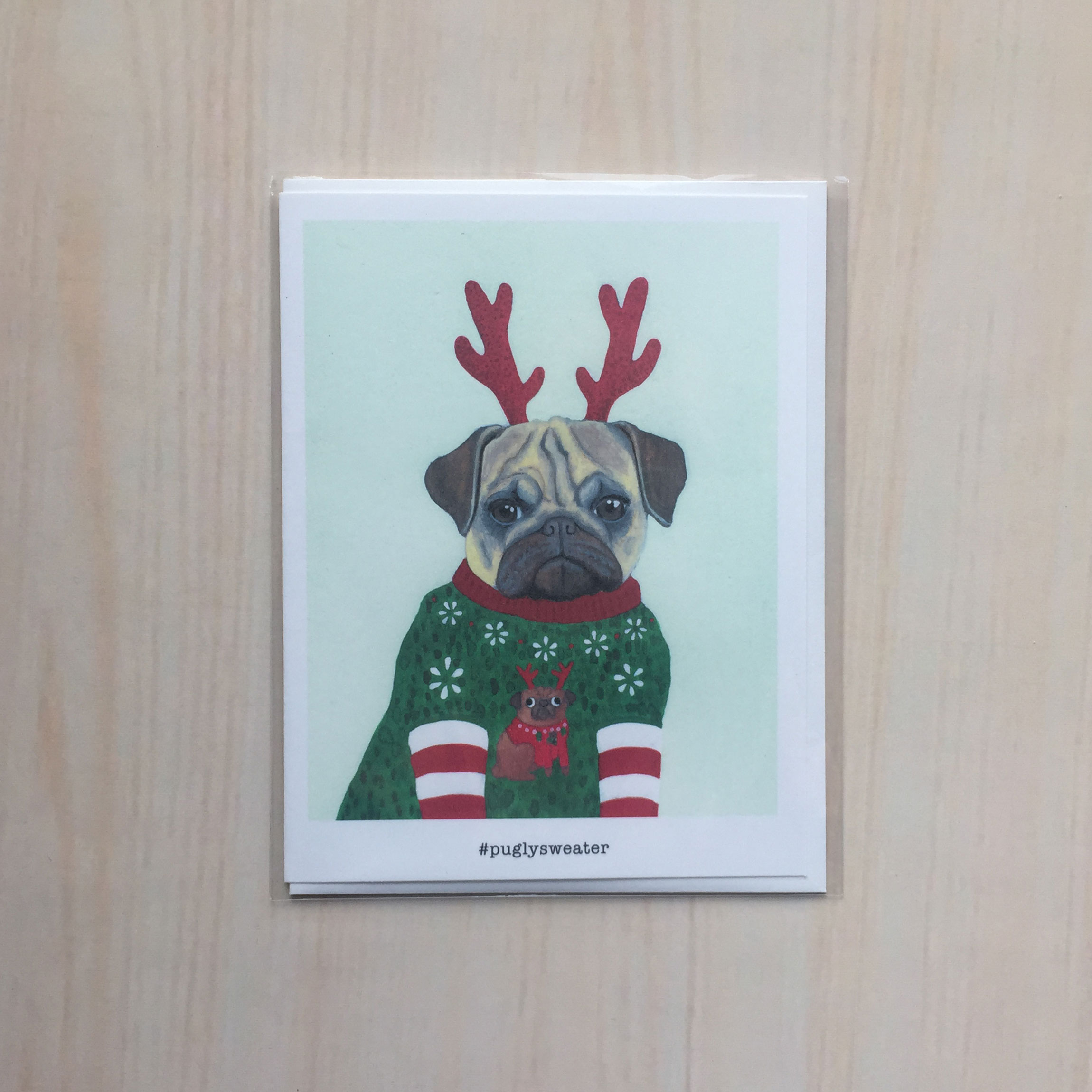 "Pugly Sweater   Size: 4""x5"" Printing: digital Inside: blank Envelope: white"