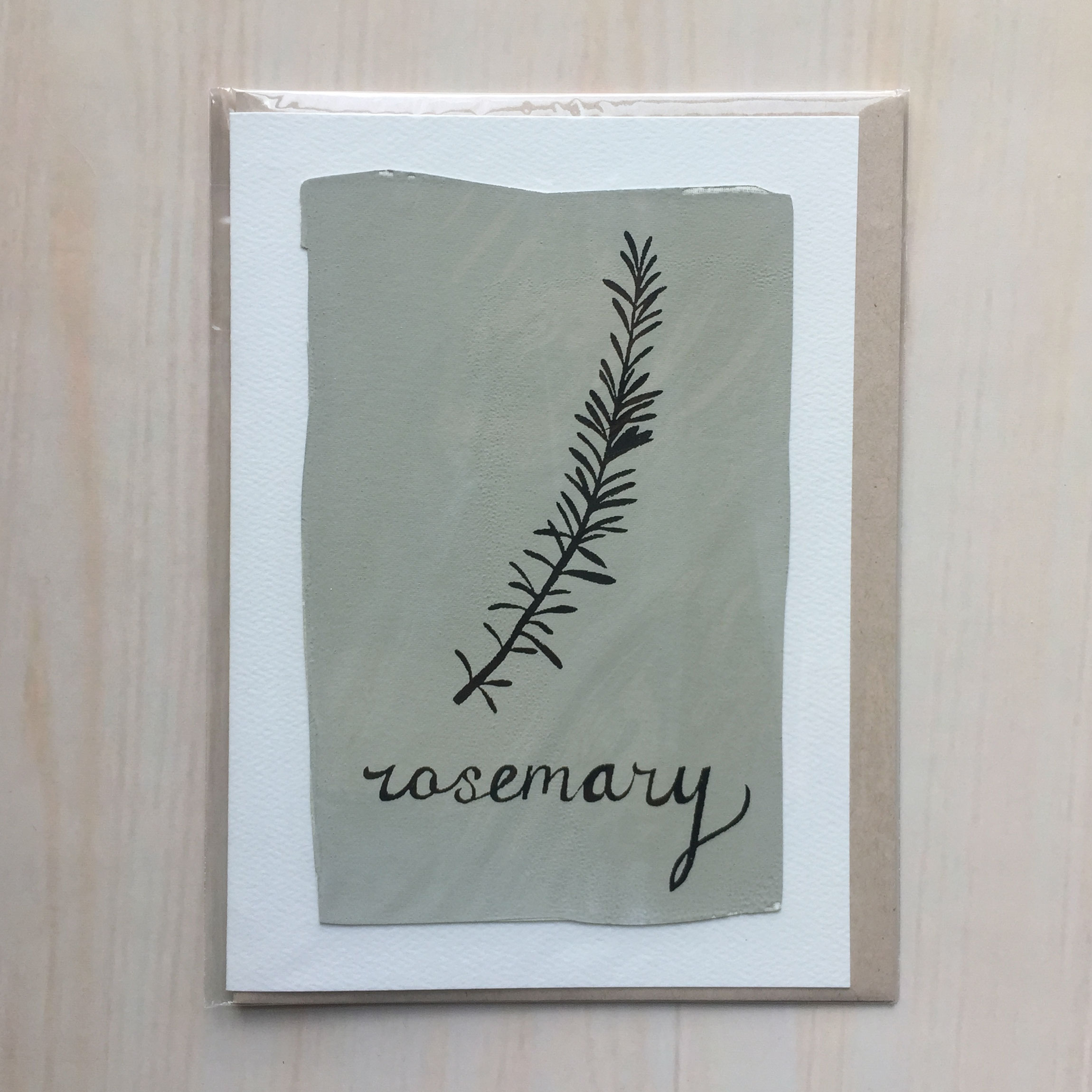 "Rosemary   Size: 5""x7"" Printing: screenprint Inside: blank Envelope: rustic brown"