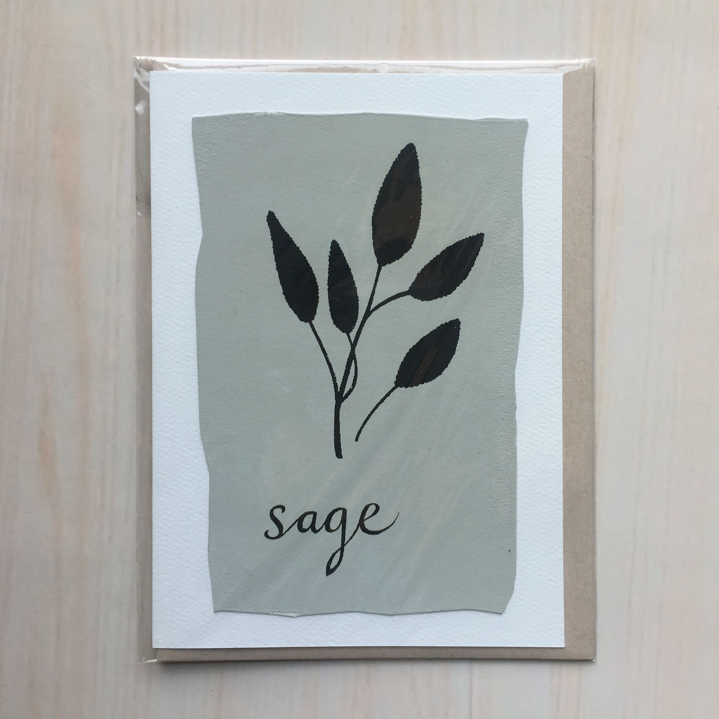 "Sage   Size: 5""x7"" Printing: screenprint Inside: blank Envelope: rustic brown"